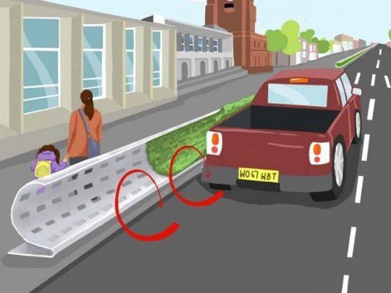 گاڑیوں کے دھوئیں کی آلودگی سے راہگیروں کو بچانے والی خمیدہ دیواریں