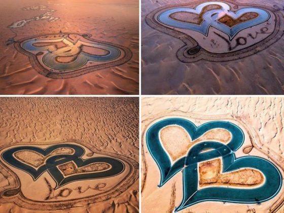 صحرا میں دو دلوں کی مانند 'جھیل الفت' خلا سے بھی نظر آتی ہے