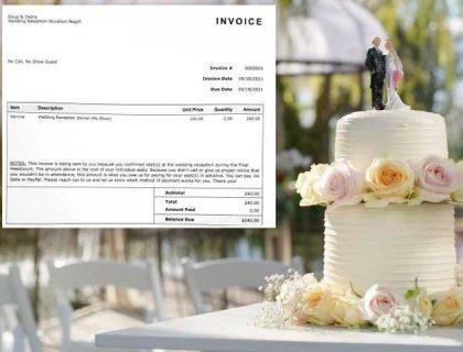 شادی میں شرکت نہ کرنے پر دلہا دلہن نے مہمانوں پر جرمانہ کردیا