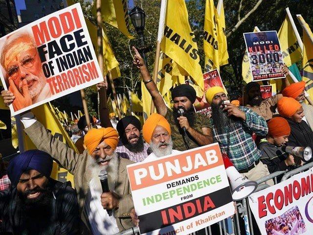 بھارتی وزیراعظم کے خطاب کے وقت اقوام متحدہ کے باہر احتجاجی مظاہرے